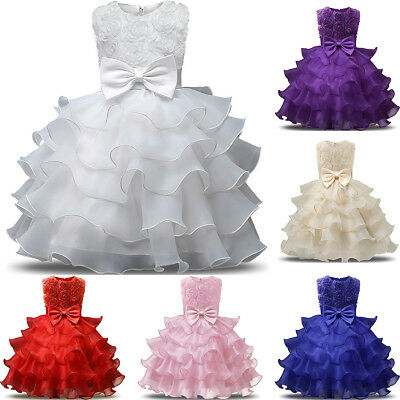 Flower Girl Dress For Party Pageant Princess Wedding Bridesmaid Formal Ball Gown