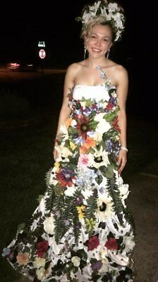 Mother Nature LED/Rhinestone/Flower Handmade Gown/Crown Halloween Costume SZ 0-4