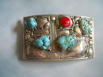 1970 Silver South Western American Belt buckle Turquoise stone Coral LArge