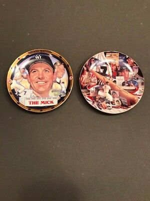 Lot of 2 Different Mickey Mantle Hamilton Collection Plates 1995