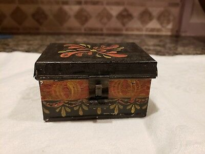 Antique Box Tole Painted Tin Toleware  Miniature Small Excellent Condition