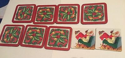 9 Collectible Coca-Cola Santa Claus Reindeer & Christmas Decor Cork Coasters