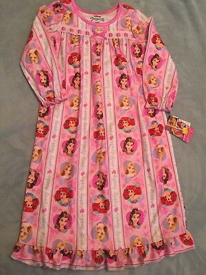 NWT Girls Size 5T Disney Princess Pink Flannel Nightgown