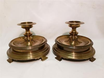 Rare! Pair Of Vintage 1972 Chapman Large Brass Footed Pillar Candle Holder Lamps
