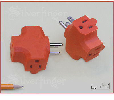 3 Outlet Triple Wall Tap Grounded Converts 3 Way Electric Power Splitter Adapter