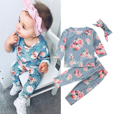 Toddler Kids Baby Girls Infant Clothes T-shirt Tops Pants Outfit Sets Tracksuit