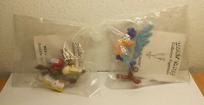 2 Looney Tunes Will E Coyote - ROAD RUNNER Collector Figurine Shell 1990 Sealed