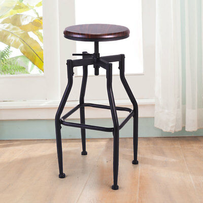 Dining Chair Bar Stackable Stools Vintage Wood Top Height Adjustable Swivel