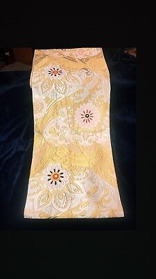 AUTHENTIC TRADITIONAL ANTIQUE JAPANESE OBI SASH FLORAL gold/silver 13'X1'!!