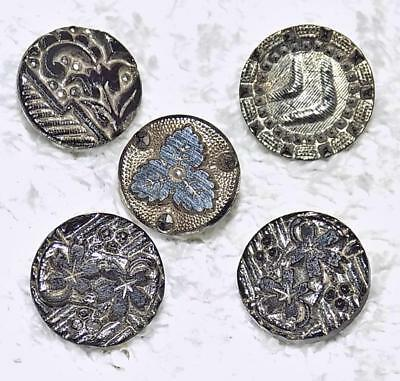"""Lot of 5 Antique Victorian Lacy Black Glass Buttons Silver Luster Floral 1/2"""" LL"""