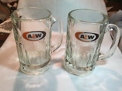 """Set of 2 - A&W Root Beer Heavy Glass Bottom MUGs / STEINs - 6"""", Free Shipping."""