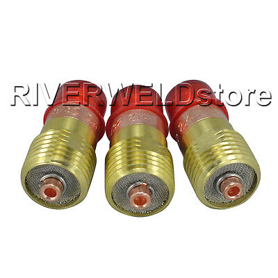 """17GL332 3/32"""" TIG Stubby Gas Lens 2.4 Fit For WP 17 18 26 TIG Welding Torch 3pk"""