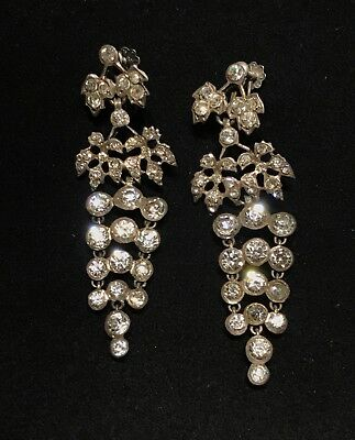 Antique Art Deco French Sterling Paste Crystal Chandelier Earrings