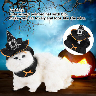 Pet Decoration Wizard Pointed Hat with Bib Cat Costume Dress for Halloween