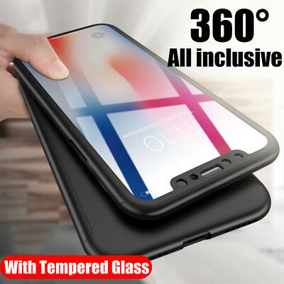 Luxury Shockproof Hybrid 360 Case Cover For iPhone XS Max XR 2018+Tempered Glass