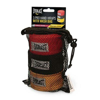 """Everlast 180"""" Hand Wraps 3 Pack with Wash Bag - Red, Black Yellow"""