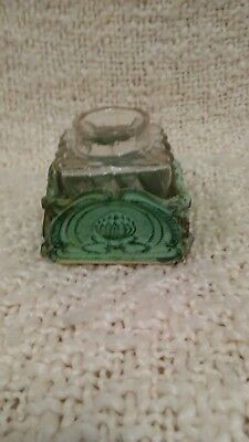 Inkwell,19th Century Pressed Glass & Vertigris Brass