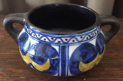 "Vintage Simple1926 Gouda Holland - 2"" Bowl w/ Handle - Cobalt, Gold, White & Red"