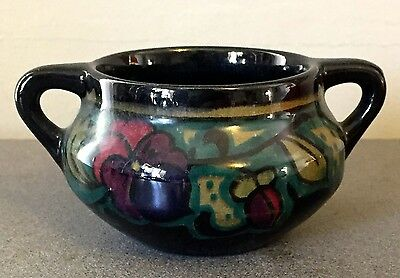 "Fleuri 1922 Gouda Holland - 1 7/8"" Bowl w/ Handles - Glossy Black, Aqua & Green"