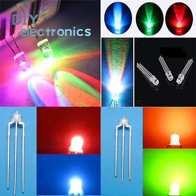 Round/Straw Hat LED 3-10mm RGB/Dual Clear Fast/Slow Flash Diodes US