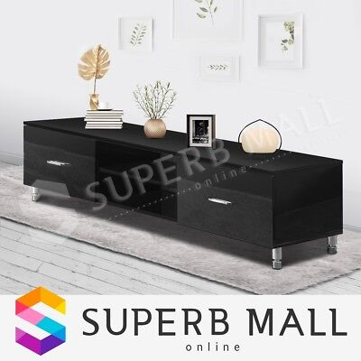 High Gloss TV Stand Wooden Cabinet Entertainment Side Unit Lowline Storage Black