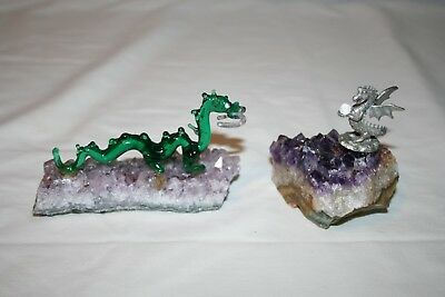 2 Dragon Figurines on Quartz Bases Pewter and Glass