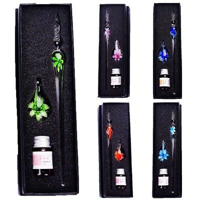 Vintage Handmade Crystal Glass Dip Pen Set Filling Ink Fountain Signature Gift