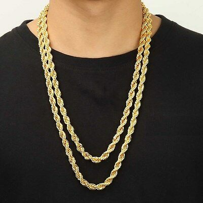 """18K IP Yellow Gold Plated 9mm 30"""" inch Rope Chain Link Men's Hip Hop Necklace"""