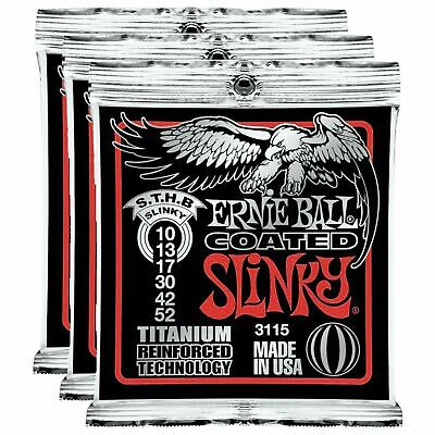 3 x Ernie Ball 3115 Coated ST/HB Titanium RPS Electric Strings 10-52 EOFY Sale