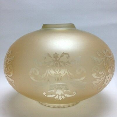 Frosted Carnival Etched GLASS Light Shade Vintage Amber Flower 1970's Art Deco