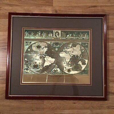 "VINTAGE Framed GOLD FOIL BLAEU Wall map OLD and NEW WORLD 32"" BY 26 """