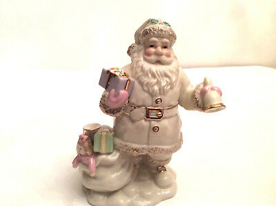 Lenox Ivory Porcelain Santa with Bell, Gifts, Toys & Instruments in sack.