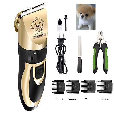 Pet Dog Cat Hair Trimmer Shaver Razor Rechargeable Grooming Kit Quiet Clipper