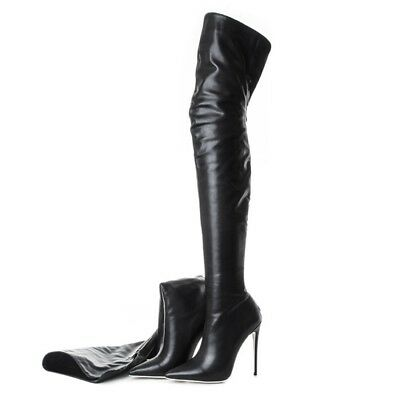 126eded242c8 Real Leather Women Pointed Toe Thigh High Over the Knee Boots Stiletto  Shoes F58