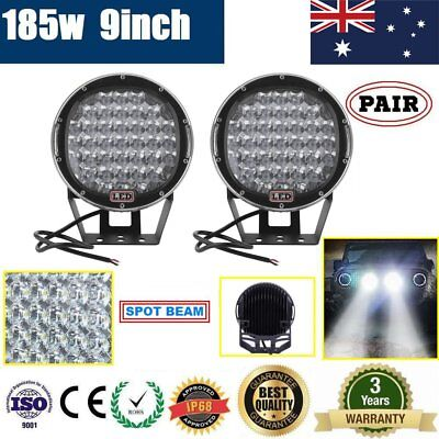 2X 9inch 37LEDs Cree LED Spot Driving Light Spotlight Offroad Lamp 4WD 4x4 Black