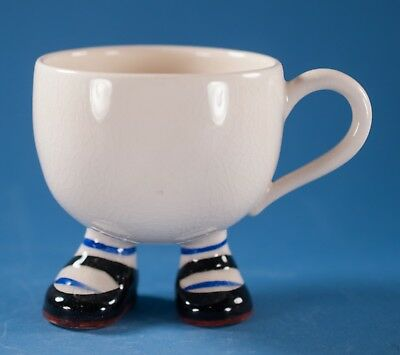 Vtg Carlton Walking Ware Cup Black Brown Mary Jane Shoes with Blue Stripes
