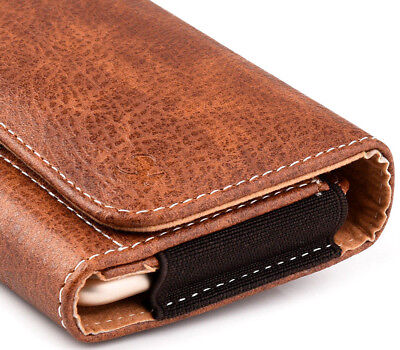 for Apple iPhones - BROWN Leather Pouch Card Holder Belt Clip Loop Holster Case