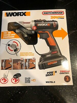 WORX 20V Switchdriver Cordless Drill & Driver with 2Batteries 1 Charger In Box