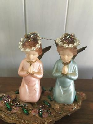 VINTAGE CHRISTMAS ANGEL ORNAMENT / TWO LITTLE ANGELS - 1950's - RARE - BUY NOW