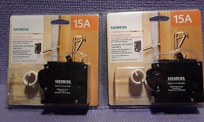 Two SIEMENS QA115AFC 15-Amp Combination Type Arc-Fault Circuit Interrupter AFCI