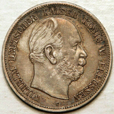 Germany Prussia Silver 5 Mark 1876 -C (Scarce And Sought After!)