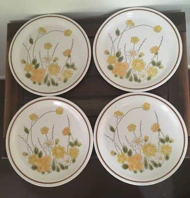 """4 Retro Stoneware Dinner Plates Camelot """"Spring Meadow"""" Japan Excellent Conditin"""