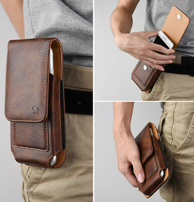 Apple iPhones - Vertical BROWN Leather Pouch Card Holders Belt Clip Holster Case