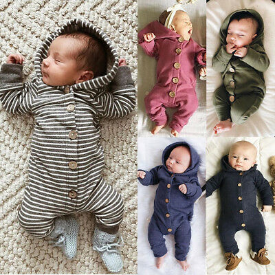 USA Baby Kids Boy Girl Infant Hooded Romper Jumpsuit Bodysuit Clothes Outfit Set
