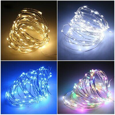 LED Battery Operated Copper Silver Micro Wire Fairy Lights String Warm White RGB