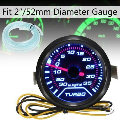52mm Turbo Boost Pressure Pointer Gauge Meter Smoked Dials 35Psi Pob LED Kits CA