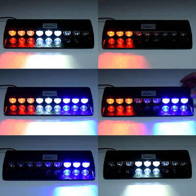12V Red/Blue/White Strobe Lights Bar Car in-Dash Safety Flashing Beacons Warming