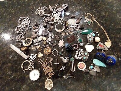 Mostly Vintage Sterling Silver 925 Scrap Junk Jewelry Lot Craft Repair