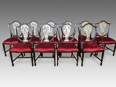 Exquisite Set 10 Prince Of Wales Style Gold Mahogany Chairs Pro French Polished.