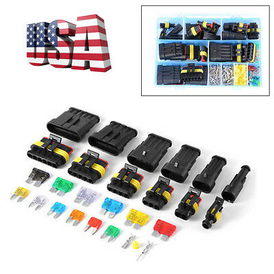 Car Motorcycle Truck Electrical Connector Terminal 1/2/3/4/5/6 Pin Way+Fuses Kit